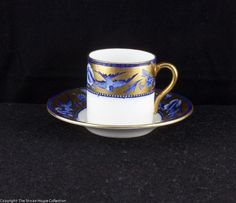 A very pretty coffee can and saucer in the Mocha shape decorated in pattern number 8190 which dates from 1916