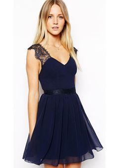 Amazing Blue Plain Lace Zipper Sleeveless Chiffon Mini Dress