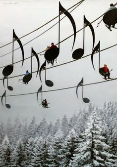 Musical Ski Lift Chairs, France.