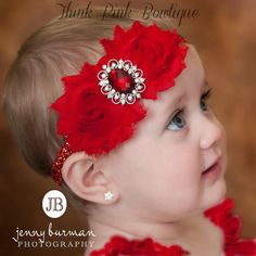 11/7 $5.95 Regular price $10.95 Christmas Headband,  Red Headband, Valentines Headband, Christmas baby headband, Baby headbands, Shabby chic Headband, Newborn Headband.