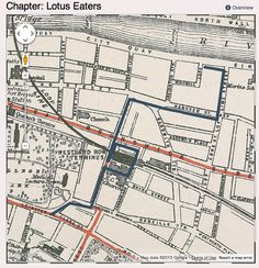 Map of Leopold Blooms route around the Sandwich Street to Westland Row area of Dublin, from the chapter episode Lotus Eaters, in James Joyces Ulyses.  Part of and courtesy of a brilliant literary mapping project by Boston College, MA.  Follow the link to see my article on this and on Vladamir Nabokov's own map of Ulysses.