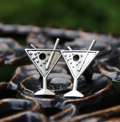 Martini Cuff Links  Alcohol Cocktail Drink for Men by CleopatraNYC, $48.00