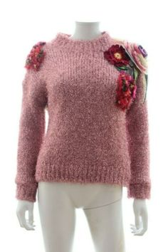 Dolce & Gabbana Metallic Flower-Appliqué Sweater / Pink | eBay Roll Neck Jumpers, Flower Applique, Jumpers For Women, Pink Sweater, Cotton Silk, White Women, Rib Knit, Cashmere, Weaving