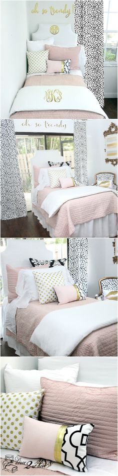 Blush pink white a pop of black designer dorm bedding set