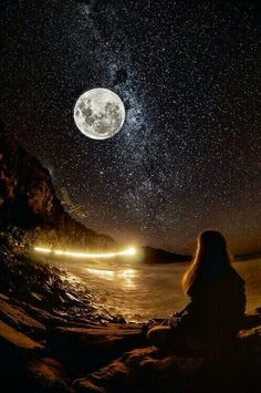 Girl siting on beach looking at full Moon and stars night sky full of stars, Beautiful Moon, Beautiful World, Beautiful Places, Beautiful Pictures, Wonderful Places, Stars Night, To Infinity And Beyond, Nocturne, Night Skies