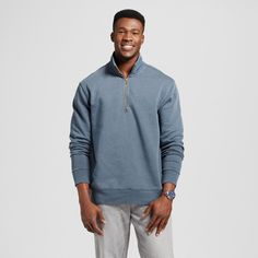Men's Quarter Zip Fleece Pullover Sweater