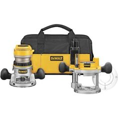 DEWALT DW618PKB 2-1/4 HP EVS Fixed Base/Plunge Router Combo Kit with Soft Start #DIY