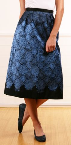 Tibi black and blue patterned long silk structured skirt