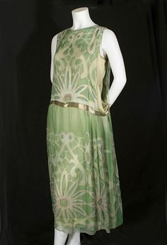 Beaded chiffon dress over gold lame slip, c.1924, from the Vintage Textile archives.