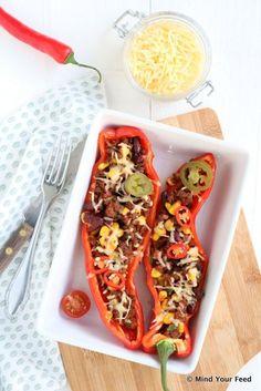 Gevulde paprika met Mexicaans gehakt