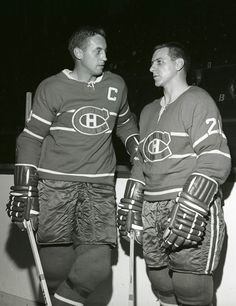 Jean Beliveau & Gilles Tremblay Montreal Canadiens, Mtl Canadiens, Canadian Hockey Players, Nhl Players, Football, Baseball, Hockey Teams, Ice Hockey, Lord Stanley Cup