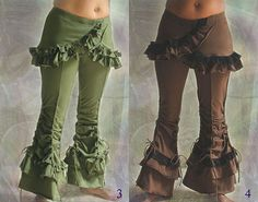 Tango ~ skirted hot belly dance tribal stretch Pants with Ruffles
