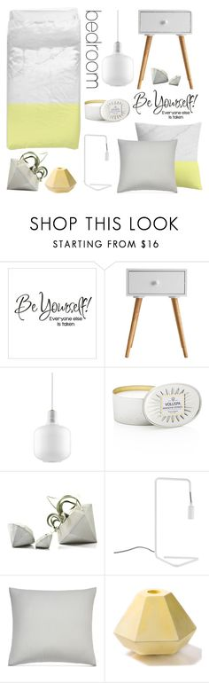Bedroom - Yellow Gray by by-jwp on Polyvore featuring interior, interiors, interior design, home, home decor, interior decorating, Normann Copenhagen, Under the Canopy, Voluspa and Holly's House