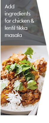 heat oil in a saucepan and fry chicken for 5mins, add drained lentils and sauce cover and simmer for 15mins stir occasionally. Check chicken is cooked through stir in chopped coriander and serve with rice