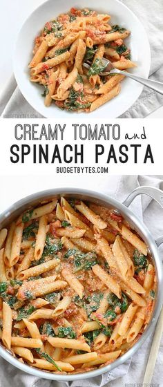 Creamy Tomato and Spinach Pasta is a fast an easy answer to dinner - http://www.budgetbytes.com Easy Vegetarian Pasta Recipes, Healthy Pasta Dishes, Easy Fast Recipes, Spinach Dinner Recipes, Healthy Spinach Recipes, Vegetable Pasta Recipes, Fast Dinner Recipes, Spinach Meals, Fast Easy Dinner
