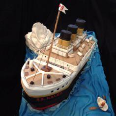 Front of sinking titanic birthday cake by pamycakes