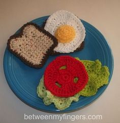Fried egg sandwich, bologna, cheese & PBJ free patterns by Sharon Frazier
