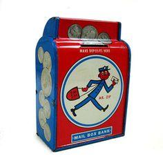 1960s Mr Zip tin bank