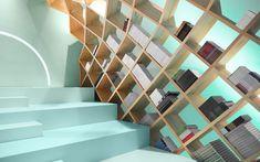 メキシコの文化と芸術の中枢となる複合施設Conarte内のライブラリーのインテリア本棚の紹介