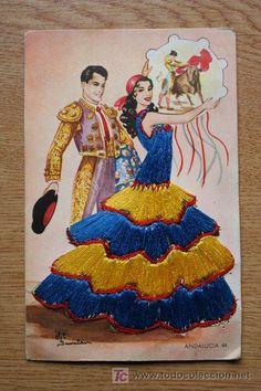 Postal. Andalucía. 44. Elsi Gumier. Spanish Dancer, Spanish Art, Artist Painting, Body Painting, Dress Card, Sewing Art, Mexican Art, Vintage Cards, Vintage Postcards