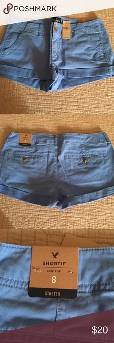 American Eagle Stretch Blue Shorts Brand new shorts, never worn, wrong size was ordered so tags are still attached and it is in great condition. They fit very well and have some give to them which is good when it gets hot so they aren't stiff on your body. Super comfy to wear all day (: American Eagle Outfitters Shorts