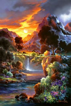 DIY Diamond Painting sunrise Landscape Diamond Embroidery Cross Stitch Full Mosaic natural view Home Decoration painting Fantasy Landscape, Landscape Art, Landscape Paintings, Sunrise Landscape, Oil Paintings, Beautiful Paintings, Beautiful Landscapes, Natur Wallpaper, Kinkade Paintings