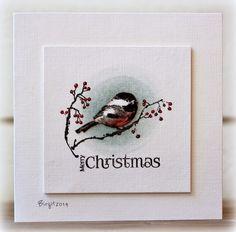 "Rapport från ett skrivbord. Cute little card from Birgit using Penny Black, ""Ode to Christmas"" stamp."