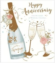 Happy Wedding Anniversary Champagne Special Couple New Uk Greetings Card - Wholesale Stationery Marriage Anniversary Cards, Anniversary Wishes For Friends, Happy Wedding Anniversary Wishes, Anniversary Congratulations, Anniversary Greeting Cards, Birthday Cards For Niece, Happy Aniversary, Happy Birthday Flower, Wedding Quotes