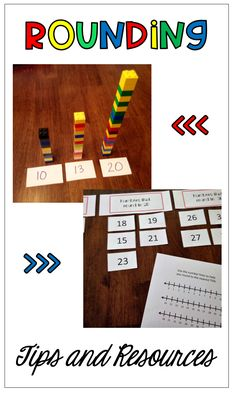 Tips and resources for teaching your students to round. Hands on activities, legos, place value blocks, number lines, sorting, rounding to tens, round, estimate. Engaging activities for math.