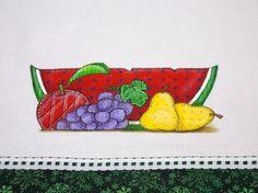 Pano de Prato Pintado Melancia e Frutas