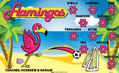 Flamingos B53310  digitally printed vinyl soccer sports team banner. Made in the USA and shipped fast by BannersUSA.  You can easily create a similar banner using our Live Designer where you can manipulate ALL of the elements of ANY template.  You can change colors, add/change/remove text and graphics and resize the elements of your design, making it completely your own creation.