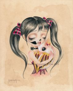 You Are Beautiful  LIMITED EDITION print signed numbered Simona Candini lowbrow pop surreal big eyes sugar skull girl gothic art on Etsy, $30.00