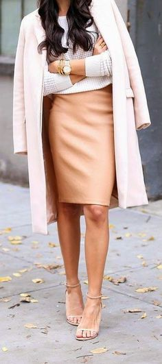 Peach leather pencil skirt