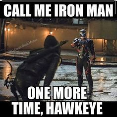 #HAHA HAHA, IF ONLY HE WAS ANYWHERE NEAR BEING IRON MAN...NO ONE CAN TOUCH RDJ AND HIS ROLE AS TONY STARK/IRON MAN!! SORRY RAY PALMER/ATOM. #STEPHEN AMELL/OLIVER QUEEN COULD TOTALLY RIVAL JEREMY RENNER/CLINT BARTON/REAL HAWKEYE