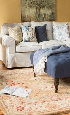 warm colors, color palettes, rug, blue, color pallets, couch pillows