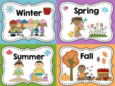 Seasons Posters and Coloring Sheets Display these FREE posters in your classroom to help your students remember the names of the 4 seasons.Display these FREE posters in your classroom to help your students remember the names of the 4 seasons. Kindergarten Science, Preschool Classroom, Preschool Activities, Seasons Kindergarten, Montessori Elementary, Preschool Seasons, Kindergarten Posters, Seasons Posters, Seasons Activities