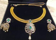 Jewellery Designs: Diamond Locket with Pretty Jhumkas
