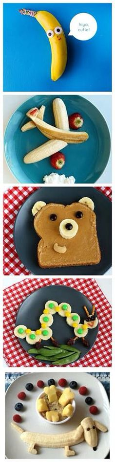 These are some great ideas for banana snacks for your kids! - These are some great ideas for banana snacks for your kids! Cute Snacks, Fun Snacks For Kids, Cute Food, Kids Meals, Yummy Food, Party Snacks, Kid Snacks, Simple Snacks, Food Art For Kids
