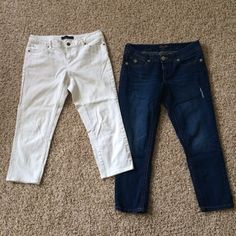 Denim bundle  Both brand name, size 8! White pair is Maxx jeans, blue pair is Seven7. The blue pair have a very small flaw, the stitching started to come out in one small spot (pictured) but easy fix! Otherwise flawless! (Very well taken care of!!) Seven7 Jeans Ankle & Cropped