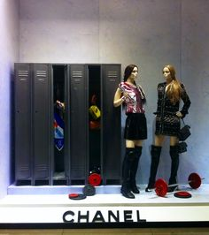 """A very upscale sports themed window display  CHANEL,""""Checking out the Locker Room"""", pinned by Ton van der Veer"""