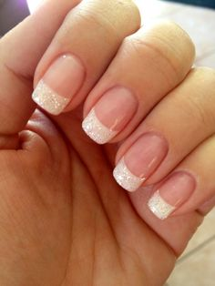 White glitter French mani! by nicolson.araya