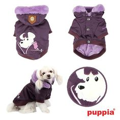 4 views of Authentic Puppia Alpine Ski-Mutt Patrol Jacket in a Rich Luxurious Deep Purple with matching Supersoft Fur Trimmed Hood. (Hood is removeable)