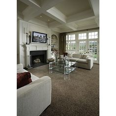Brown Carpet - perfect colour to warm up what could be otherwise a cool interior.