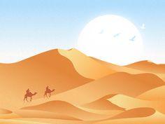 IllustrationDesert by bill_uid Popular Best Picture For home design classic Landscape Concept, Fantasy Landscape, Landscape Art, Landscape Drawings, Art Drawings, Desert Drawing, Picture Borders, Desert Art, Scenery Wallpaper