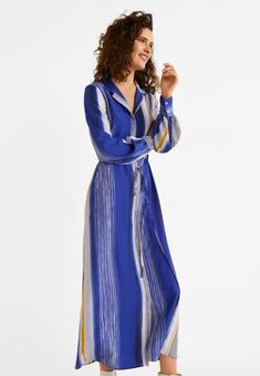 Mango MAIA-A - Długa sukienka - Dark navy blue - Zalando. Flare, Dark Navy Blue, The Dress, Stripe Print, Things To Buy, Mango, Wrap Dress, Stripes, Long Sleeve