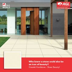Grestek Hardstone is recommended for those who want a good combination of beauty and endurance. These tiles are esthetically appealing and come with great endurance capacity. You can have them indoors as well as outdoors in any premise, be it your home, office or commercial complexes.  #AGLWorld #FloorTiles