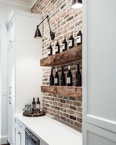 Built in wine bar ideas. Built in wine bar kitchen. - Catharina - Built in wine bar ideas. Built in wine bar kitchen. Built in wine bar ideas. Built in wine bar kitchen. Home Bar Design, New Homes, Basement Remodeling, Bars For Home, Wine Bar, Kitchen Design, Kitchen Remodel, Basement Decor, Brick Backsplash