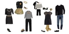 Black & Gold coordinated outfits for family photos. Modern and perfect for the holidays. From this website that give out coordinated family clothing choices for family photos and then share the direct links so you can buy directly from retailers. Makes family photos that much easier and less stressful!