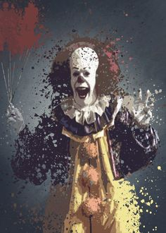 Pennywise 1990 splatter artwork based on It. Pennywise 1990 splatter artwork based on It. Gallery quality print on thick 45cm / 32cm metal plate. Each Displate print verified by the Production Master. Signature and hologram added to the back of each plate for added authenticity & collectors value. Magnetic mounting system included. EUR 44.00 Meer informatie