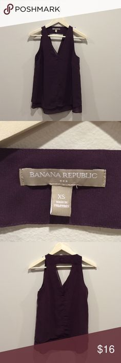 Banana Republic V-Neck XS Top Beautiful eggplant colored , sleeveless top. It is preloved but in amazing shape!! There are no holes, snags, or stains. Would make a great addition to anyone's wardrobe  Banana Republic Tops Blouses